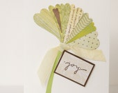 SALE Joyful Ginkgo - Handmade OOAK Card for any celebration - apple green, spring, summer, leaf, nature, joy