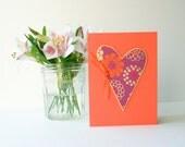 Handmade Card - heart, ribbon, art paper in orange, purple, fuchsia, and metallic gold - Wedding, Graduation, Birthday, Anniversary