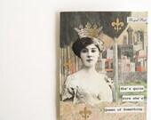 Handmade OOAK Greeting Card - vintage inspired  -- Queen of Something - Italian fresco, tree, fleur de lis, crown, royal