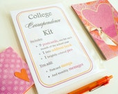 Back to School - College Freshman Correspondence Kit - 9 postcards, pen, little address book - mother and daughter