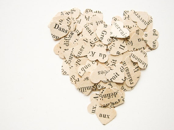 50 French Punched Hearts - Confetti or Papercraft - vintage paper, wedding decoration, romantic