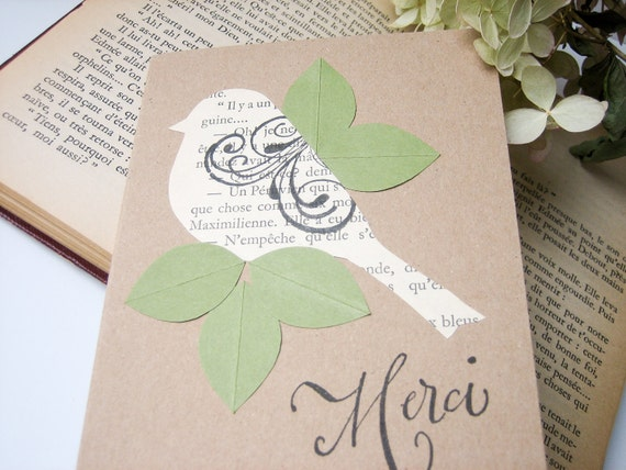 Handmade Card - Thank You Note Card - Little French Bird Merci - tan, moss green, vintage text