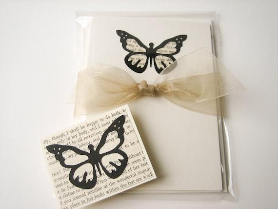Jane Austen Butterfly Note Card Set -- handmade blank cards