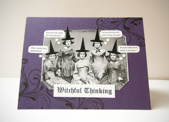Fun Halloween Handmade Greeting Card - Witchful Thinking - Vintage Inspired