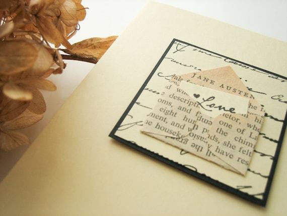 Handmade Card - Jane Austen Love Letter  - ivory, black, elegant, vintage book page, romantic card