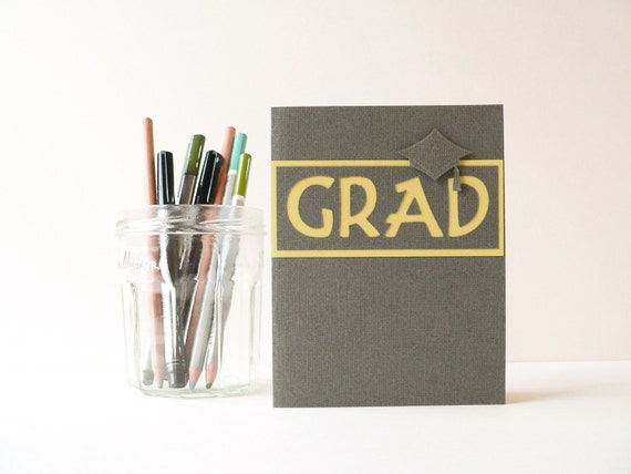 Handmade Graduation Card in warm gray and chartreuse green, unisex
