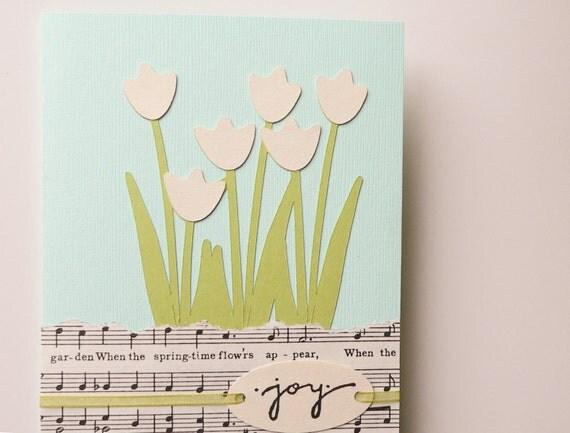 Handmade Greeting Card - vintage music, tulips, aqua, green, ivory, spring, pastel