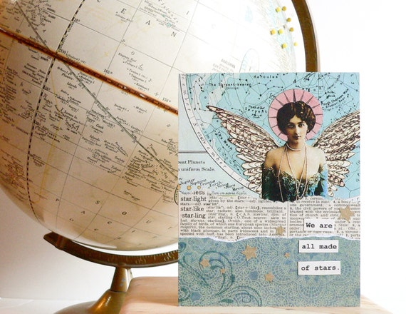 Handmade Card -- We are all made of stars -  vintage map, celestial , OOAK Collage, teal, wings, graduation