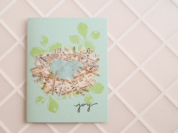 Joyful Nest Handmade Greeting Card - perfect for a baby, new home, birthday - collage, nest, eggs, joy