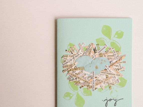 Joyful Nest Handmade Greeting Card - perfect for a baby, new home, Mother's Day - collage, nest, eggs, joy