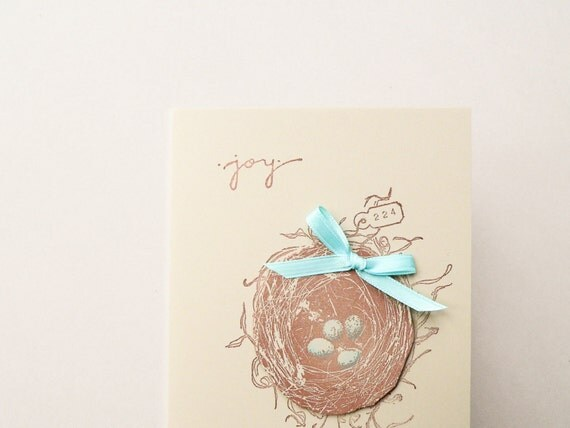 Joy Filled Bird's Nest - Handmade Nature Greeting Card -  - Robin's Egg Blue - Brown - Baby, Birthday, New Home