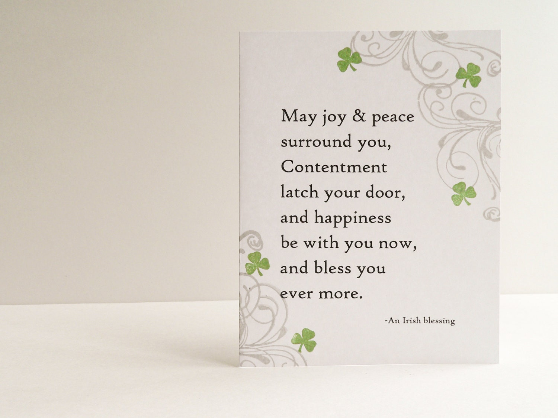 Handmade Wedding Card Irish Blessing Shamrocks White