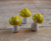 Tiny Yellow Trio of Toadstools Fantasy Figurine or Terrarium Decoration Made to Order