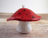 Ladybug Red and Black Toadstool Mushroom Christmas Ornament