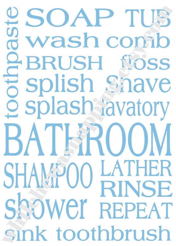 8x10 Bathroom Themed Subway Art Printables by ...