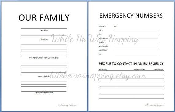 Family Organization Binder Worksheets Printable