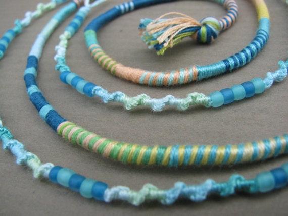 Hair Wrap extension - Mint Twist - hippie gypsy boho style removable beaded hairwrap dread dreadlock clip