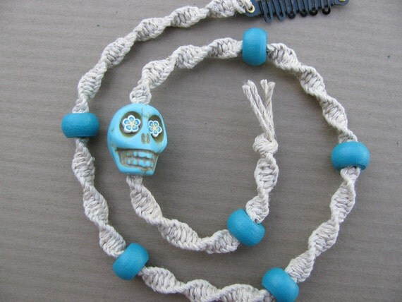 Hemp Hair Wrap Extension with turqouise wood beads and day of the dead sugar skull bead
