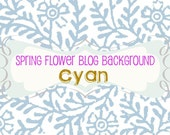 Website Blog Background. Cyan Blue Spring Flower Digital Makeover Series. Natural Color. Simple. Blogger. Floral Design. Twitter
