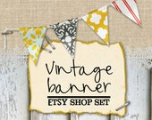 Vintage Modern Etsy Shop Banner Set. Rustic. Staples, Bunting, Shabby Chic, Spring Shop Makeover Series.