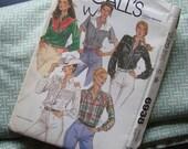 Vintage Cowgirl Pearl Snap Pattern, Uncut B34