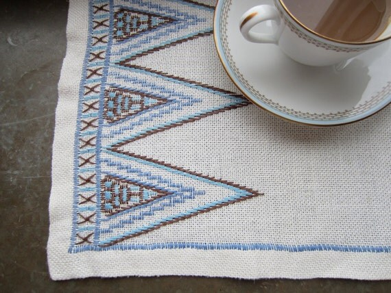 Vintage Swedish Linens: Blue Geometric Embroidery