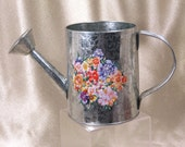 Metal Watering Can  Embossed with Spring Flowers 5 Inches Tall