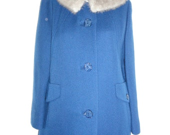 Womens Coats Womens Vintage Coats Womens Dress Coat Fur Collar Coat Mink Fur Collar Womens Winter Coats Womens Wool Coat Blue Wool Coat