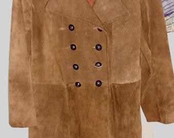 Vintage Jacket 60's Jacket Hippie Jacket Women's Suede Jacket Hippie Clothes 60's Coat Double Breasted Coat