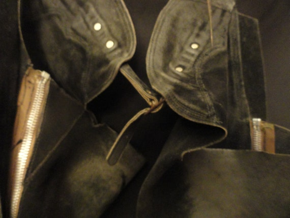 Men's Clothes / Women's Outerwear Accessories Black Suede Western Leather Equestrian Chaps / Britche's