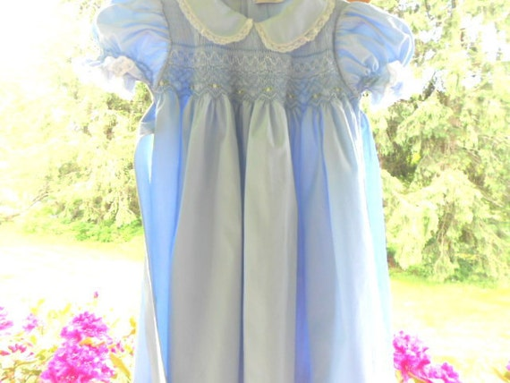 Dress Blue Hand Smocked White Lace Childrenswear Children's Babies Toddler Girl's Clothes 50's 60's