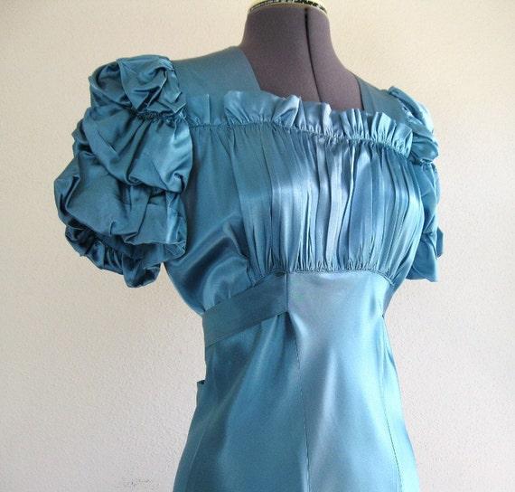 rhapsody in blue - dazzling vintage 30s 40s bias cut satin evening gown 36B