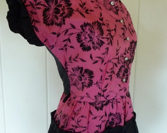 Vintage 50s 60s pink and black taffeta flocked lucy dress