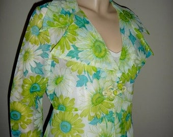 Vintage Lime Green and Aqua Floral Daisy Sheer Chiffon Cover Up Robe, medium to large