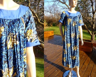 Vintage Hawaiian Moo Moo Maxi Coverup Dress, small to large