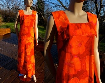Vintage Maxi Dress, Hawaiian Luau Dress in vibrant orange and magenta, from Mildred's of Hawaii, Medium