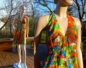 Vintage Halter Mini Dress, 70s Hawaiian Luau, Hukilau Fashions, medium