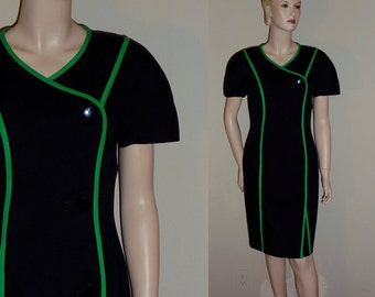 Vintage 80s sheath dress, black with green piping, Constance Saunders for Neiman Marcus, Small to medium