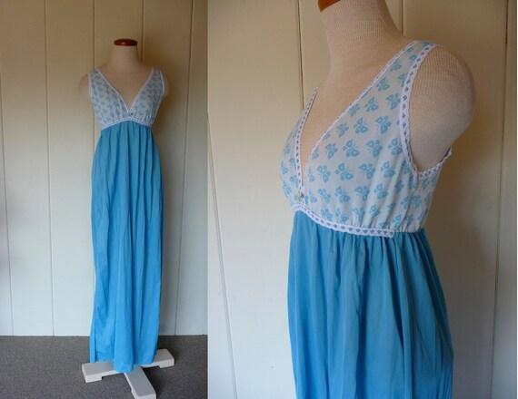 Vintage blue long nightie with elastic knit bra top, Large