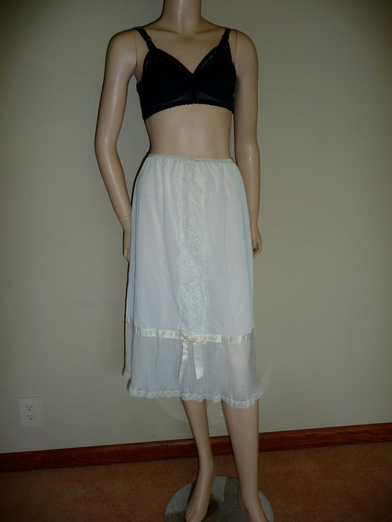 Creamy white long nylon half slip with crystal pleats, Michelene, large