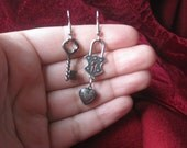 You have the key to my heart-Lock, Heart and Key Silver Earrings