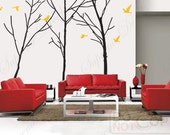Tree Wall Decals Flying Birds Wall Arts - Cool Three Big Trees with Six Flying Birds-8 ft 6inch-Removable Living Room Wall Decals Stickers