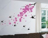 Cherry blossom, birds --- Wall Art Home Decors Murals Removable Vinyl Decals Paper Stickers