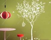 Tree Vinyl Wall Decals Birdcage Vinyl Nature Tree Sticker Living Room Wall Decors- Spring Tree with Birdcage  - Vinyl Art for Living Room