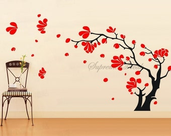 """Flower Wall Decal Floral Vinyl Wall Stickers -Magnolia Blossom (42""""H) - Wall Art Home Decors Murals Removable Vinyl Decals Paper Stickers"""