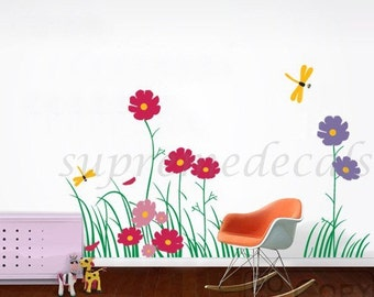 Floral Wall Decals Flower Wall Decals Dragonflies Decals Baby Nursery Room - Colorful Flowers with Dragonflies(31.5inch H)