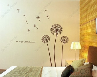 63×63 in. Dandelion Wall Decals- Floral Vinyl Decal, Dandelion Wall Decals, Removable Stickers, Living Room Wall Decors, Wall Stickers T-025