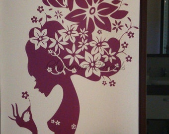 Flower Girl --46.5inch tall-- Wall Art Home Decors Murals Removable Vinyl Decals Paper Stickers