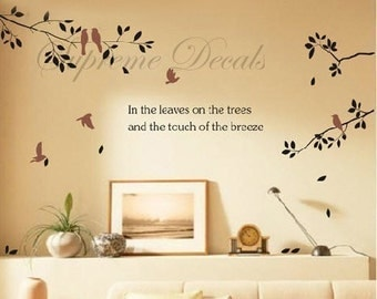 Branch and birds - removable vinyl art wall decals sticker