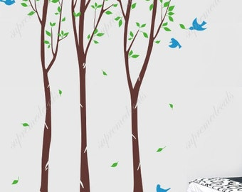 NEW DESIGN- Birch Tree Forest  with Flying Birds-8 ft 6inch- Wall Decals Stickers Vinyl Home decor to your Living Room
